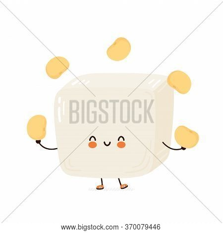Cute Happy Funny Tofu Juggle Soy Beans. Vector Cartoon Character Hand Drawing Style Illustration. Is