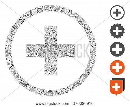 Line Mosaic Based On Add Icon. Mosaic Vector Add Is Designed With Random Line Elements. Bonus Icons