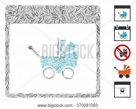 Line Mosaic Based On Baby Carriage Calendar Page Icon. Mosaic Vector Baby Carriage Calendar Page Is