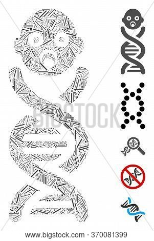 Line Mosaic Based On Baby Genes Icon. Mosaic Vector Baby Genes Is Designed With Randomized Line Elem