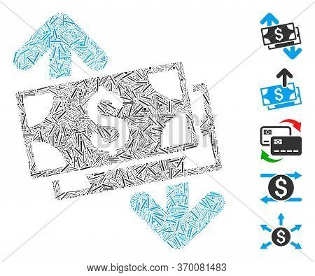 Dash Mosaic Based On Banknotes Spending Icon. Mosaic Vector Banknotes Spending Is Created With Rando