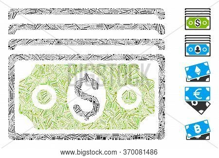 Line Mosaic Based On Banknotes Icon. Mosaic Vector Banknotes Is Created With Randomized Line Element