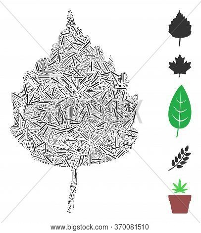 Dash Mosaic Based On Birch Leaf Icon. Mosaic Vector Birch Leaf Is Formed With Random Dash Elements.