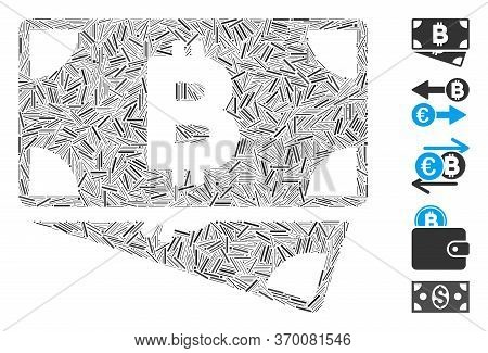 Hatch Mosaic Based On Bitcoin Cash Banknotes Icon. Mosaic Vector Bitcoin Cash Banknotes Is Designed