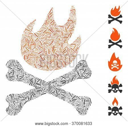 Hatch Mosaic Based On Bones Hell Fire Icon. Mosaic Vector Bones Hell Fire Is Formed With Randomized