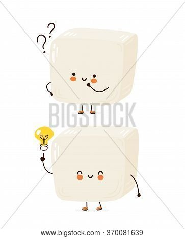 Cute Happy Funny Tofu. Vector Cartoon Character Hand Drawing Style Illustration. Isolated On White B