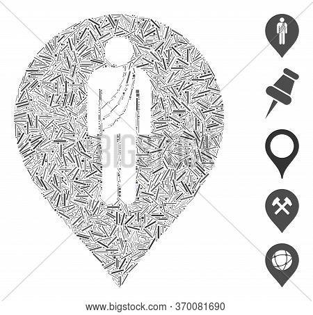 Line Mosaic Based On Buddhist Monk Marker Icon. Mosaic Vector Buddhist Monk Marker Is Composed With