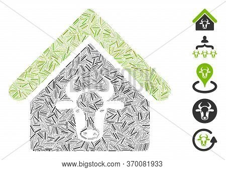 Hatch Collage Based On Cattle Farm Icon. Mosaic Vector Cattle Farm Is Formed With Random Hatch Eleme