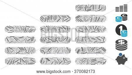Line Mosaic Based On Coin Columns Icon. Mosaic Vector Coin Columns Is Formed With Scattered Line Ele