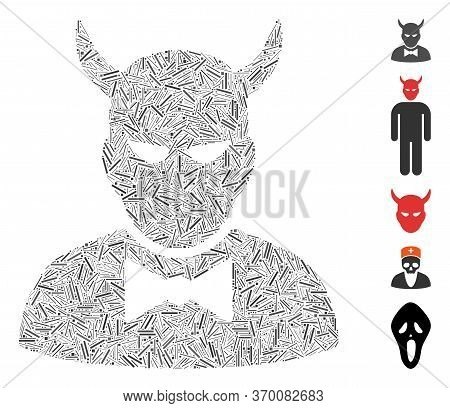 Line Mosaic Based On Devil Icon. Mosaic Vector Devil Is Composed With Randomized Hatch Elements. Bon