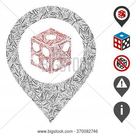 Line Mosaic Based On Dice Map Pointer Icon. Mosaic Vector Dice Map Pointer Is Formed With Randomized