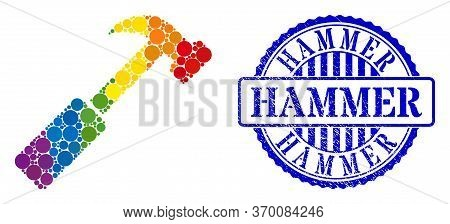 Hammer Composition Icon Of Round Dots In Various Sizes And Rainbow Colored Color Tinges. Blue Rounde