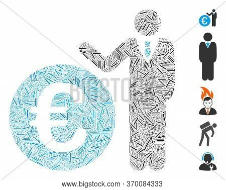 Dash Mosaic Based On Euro Economist Icon. Mosaic Vector Euro Economist Is Formed With Random Dash Do
