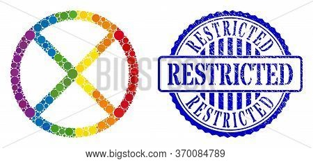 Restricted Collage Icon Of Round Dots In Various Sizes And Rainbow Bright Color Tones. Blue Round Sc