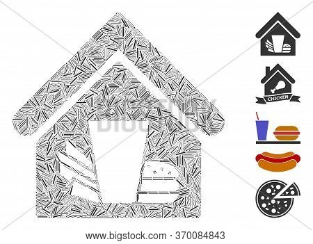 Hatch Mosaic Based On Fastfood Cafe Icon. Mosaic Vector Fastfood Cafe Is Composed With Random Line E