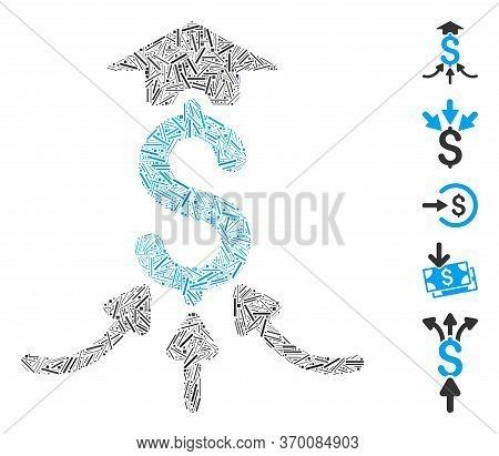 Line Mosaic Based On Financial Aggregator Icon. Mosaic Vector Financial Aggregator Is Designed With