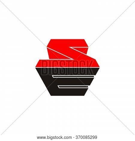 Letter Se Simple Geometric 3d Flat Colorful Design Logo Vector