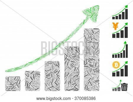 Dash Mosaic Based On Growing Bar Chart Trend Icon. Mosaic Vector Growing Bar Chart Trend Is Designed