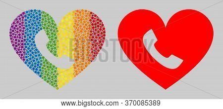 Phone Heart Composition Icon Of Circle Elements In Different Sizes And Rainbow Colored Shades. A Dot