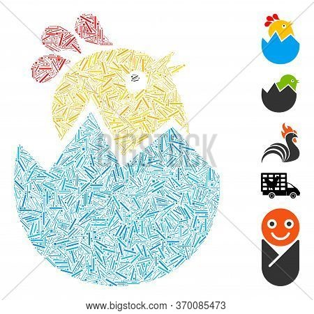 Hatch Mosaic Based On Hatch Chick Icon. Mosaic Vector Hatch Chick Is Designed With Randomized Hatch