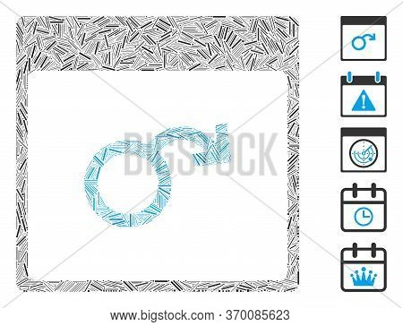 Line Mosaic Based On Impotence Calendar Page Icon. Mosaic Vector Impotence Calendar Page Is Created