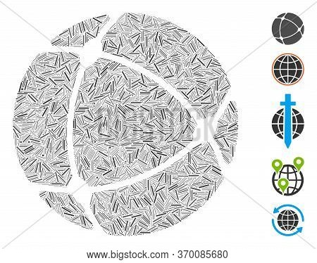 Line Mosaic Based On Internet Sphere Icon. Mosaic Vector Internet Sphere Is Composed With Random Lin