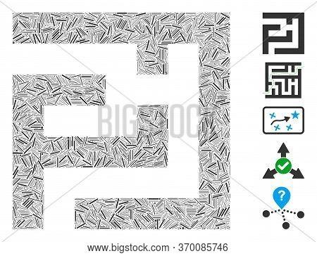 Dash Mosaic Based On Labyrinth Icon. Mosaic Vector Labyrinth Is Designed With Random Dash Items. Bon