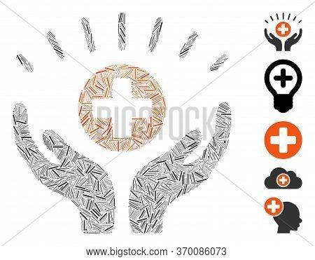 Hatch Mosaic Based On Medical Prosperity Icon. Mosaic Vector Medical Prosperity Is Formed With Rando