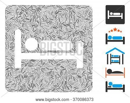 Line Mosaic Based On Motel Bed Icon. Mosaic Vector Motel Bed Is Composed With Randomized Line Elemen