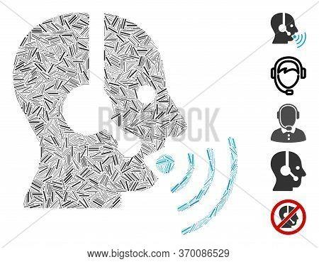 Line Mosaic Based On Operator Talking Sound Waves Icon. Mosaic Vector Operator Talking Sound Waves I