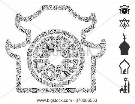 Hatch Mosaic Based On Pagoda Icon. Mosaic Vector Pagoda Is Designed With Scattered Hatch Elements. B