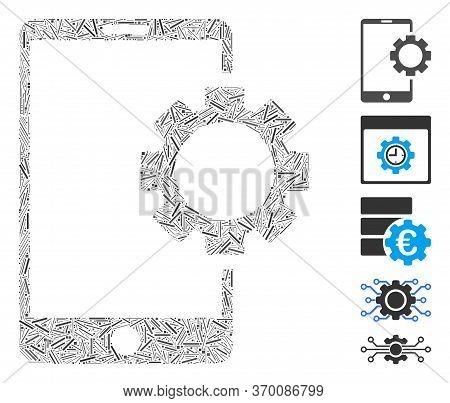 Line Mosaic Based On Phone Setup Gear Icon. Mosaic Vector Phone Setup Gear Is Composed With Scattere