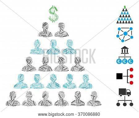 Dash Mosaic Based On Ponzi Pyramid Scheme Icon. Mosaic Vector Ponzi Pyramid Scheme Is Designed With