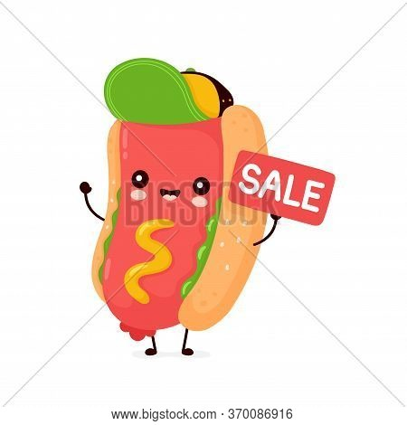 Cute Happy Smiling Hot Dog With Sale Sign. Vector Flat Cartoon Character Illustration Icon Design.is