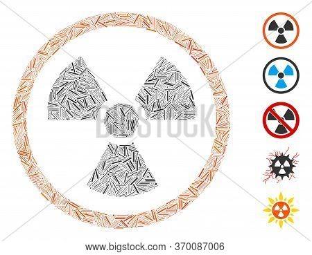 Hatch Mosaic Based On Radiation Danger Icon. Mosaic Vector Radiation Danger Is Designed With Scatter