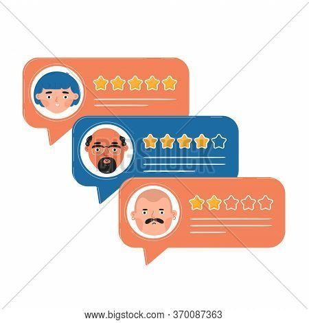 Review Rating Bubble Speeches. Vector Trendy Style Cartoon Character Illustration Avatar Icon Design