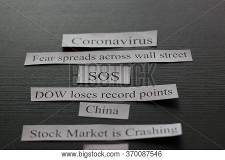 Photo Showing Headlines About How Coronavirus Is Causing Stock Market To Crash