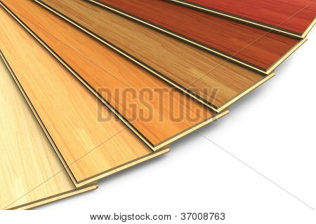 Set of wooden laminated construction planks