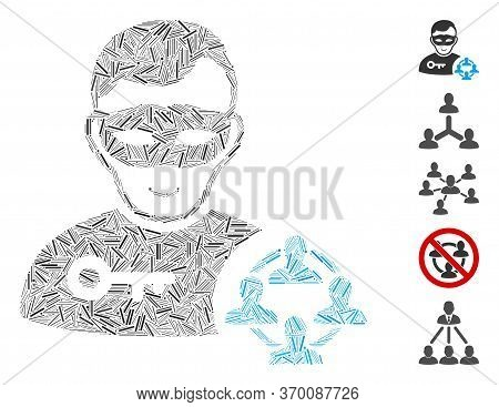 Line Mosaic Based On Social Hacker Icon. Mosaic Vector Social Hacker Is Created With Scattered Line