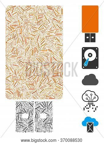 Line Mosaic Based On Usb Flash Drive Icon. Mosaic Vector Usb Flash Drive Is Created With Random Line