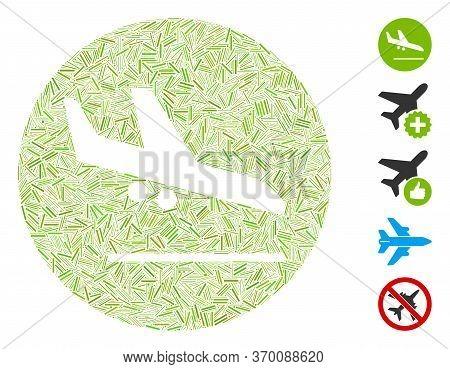 Dash Mosaic Based On Valid Airplane Landing Icon. Mosaic Vector Valid Airplane Landing Is Created Wi
