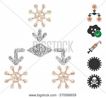Hatch Mosaic Based On Virus Reproduction Icon. Mosaic Vector Virus Reproduction Is Created With Scat