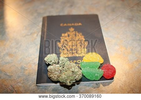 Legalization Of Cannabis For Recreational Use In Canada. The National Canadian Flag Made Of Dry Weed