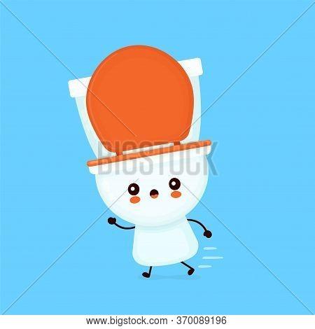 Cute Toilet Bowl Run. Vector Flat Cartoon Character Illustration Icon Design. Wc, Toilet Bowl Concep