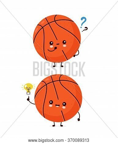Cute Happy Smiling Basketball Ball With Question Mark And Idea Lightbulb. Vector Flat Cartoon Charac