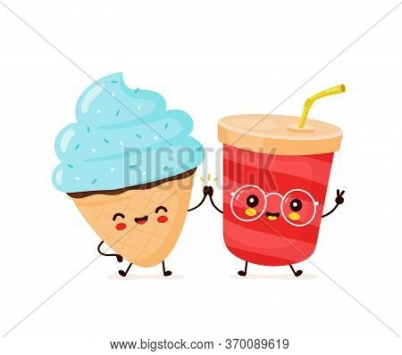 Cute Happy Smiling Ice Cream Cone And Soda Cup. Vector Flat Cartoon Character Illustration Icon Desi