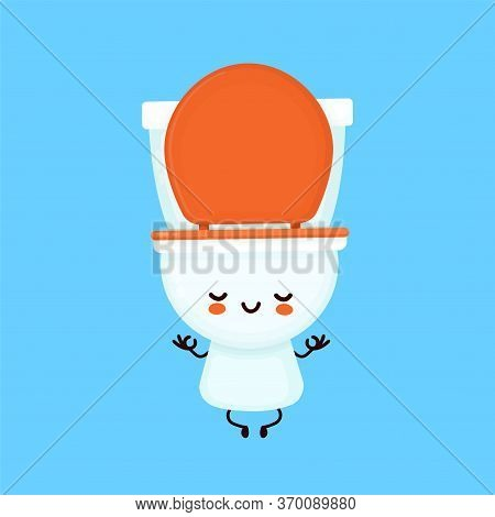 Cute Happy Smiling Toilet Bowl Meditate In Yoga Pose. Vector Flat Cartoon Character Illustration Ico