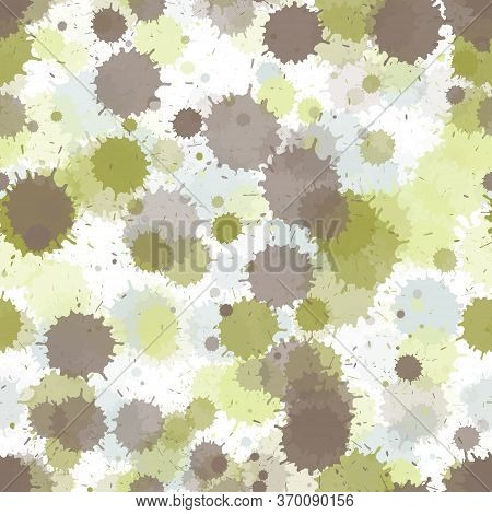 Watercolor Transparent Stains Vector Seamless Wallpaper Pattern. Trendy Ink Splatter, Spray Blots, D