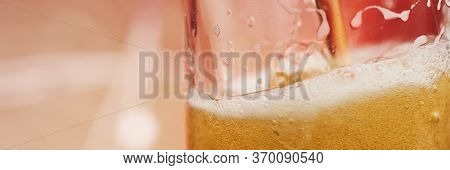 A Glass Of Crafty Beer. International Beer Day Or Octoberfest Concepts. Drinking Beer After A Hard W