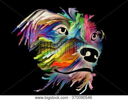 Portrait Of A Dog In Bright Digital Colors On Black Background On Subject Of Love, Friendship, Faith